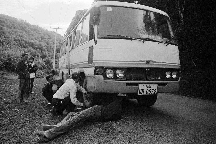 Eastern Laos, 2012: Another day, another bus breakdown. Between Phonsavan and Sam Neua.