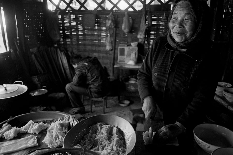 Phongsali, Laos 2011: hand-cut noodles on an incredibly cold day.